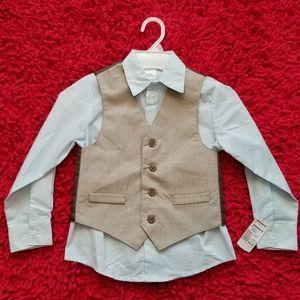 Van Huesen Boys Dress Shirt and Vest